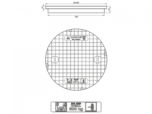 Stabiflex Schachtabdeckung Kunststoff SOLO-648-600kg Zeichnung/Masse