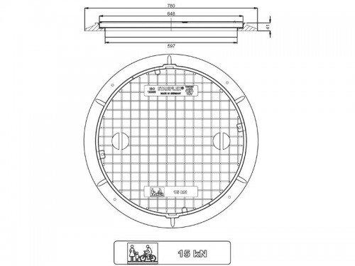 Stabiflex Schachtabdeckung Kunststoff BASIC-15kN Zeichnung/Masse