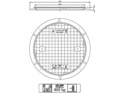Stabiflex Schachtabdeckung Kunststoff BASIC-600kg Zeichnung/Masse